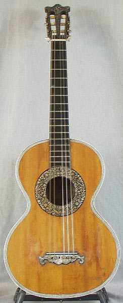 Early Musical Instruments part of the Bruderlin Collection, antique Romantic Guitar, Pratten Style around 1850