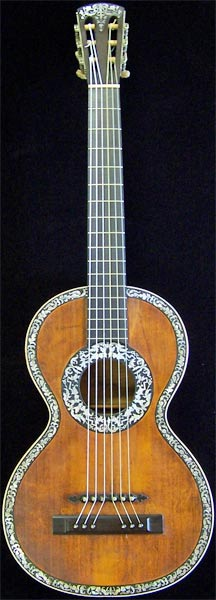 Early Musical Instruments part of the Bruderlin Collection, antique Romantic Guitar by H. Derazey around 1831