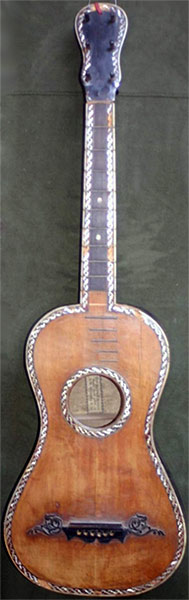 Early Musical Instruments part of the Bruderlin Collection, antique Romantic Guitar by Fabricatore 1800