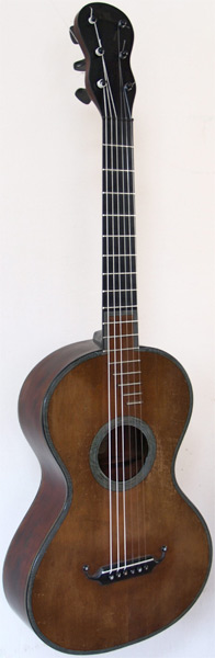 Early Musical Instruments part of the Bruderlin Collection, antique Romantic Guitar by René Lacôte dated 1829