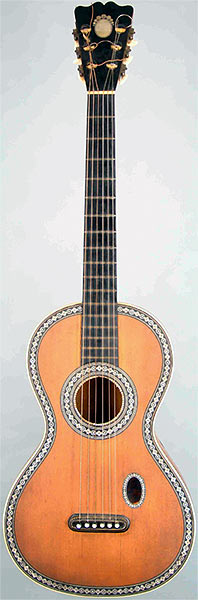 Early Musical Instruments part of the Bruderlin Collection, antique Romantic Guitar by PONS 1830