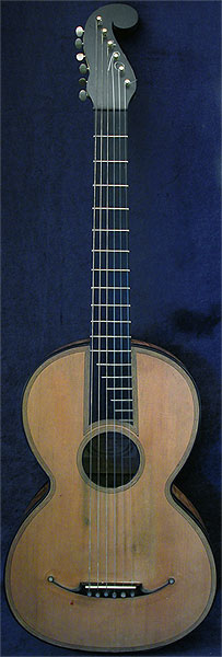 Early Musical Instruments part of the Bruderlin Collection, antique Romantic Guitar by Gennaro Fabricatore dated 1835