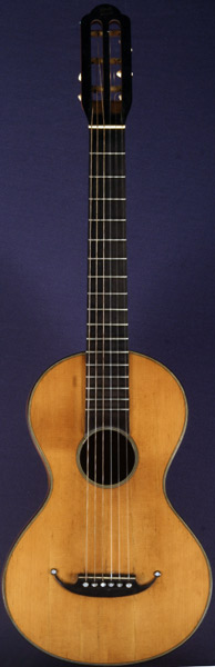 Early Musical Instruments part of the Bruderlin Collection, antique Romantic Guitar by René Lacote dated 1845