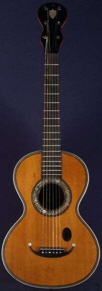 Early Musical Instruments part of the Bruderlin Collection, antique Romantic Guitar by Coffe around 1850