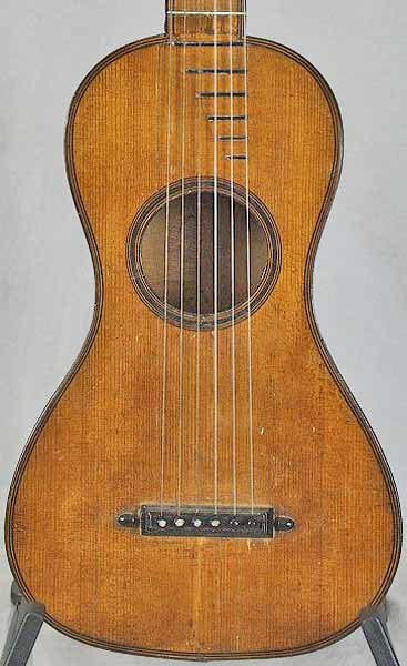 Early Musical Instruments part of the Bruderlin Collection, antique Romantic Guitar by Francois Bastien 1800s