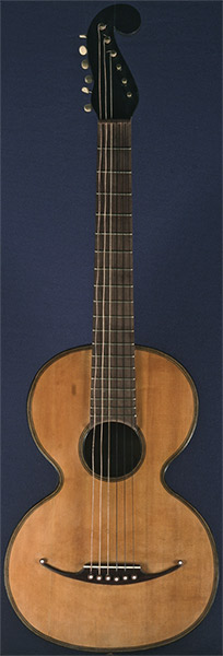Early Musical Instruments part of the Bruderlin Collection part of the Bruderlin Collection, antique Romantic Guitar by Gaetano Vinaccia dated 1847