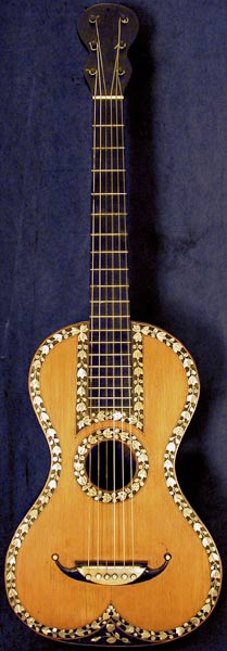 Early Musical Instruments part of the Bruderlin Collection, antique Romantic Guitar by Anonymous 1840s