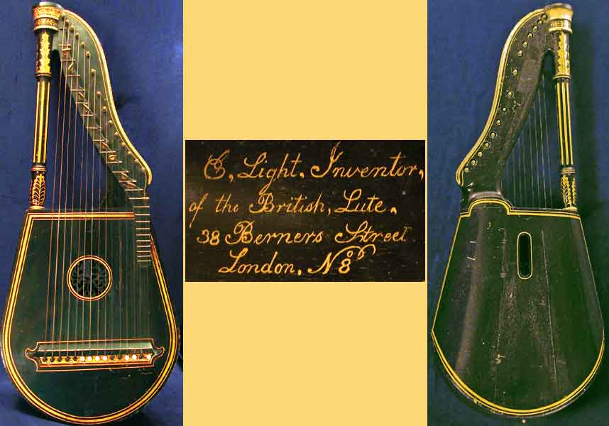 Early Musical Instruments part of the Bruderlin Collection, antique Lyra Guitar by Edgar Light around 1790