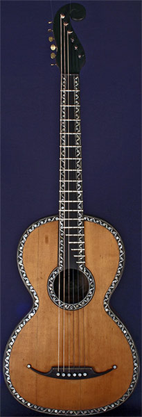 Early Musical Instruments part of the Bruderlin Collection, antique Romantic Guitar by Gennaro Fabricatore dated 1834