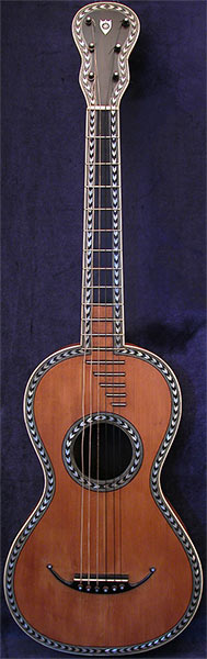 Early Musical Instruments part of the Bruderlin Collection, antique Romantic Guitar by Simon around 1820