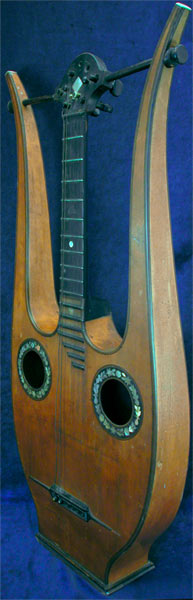 Early Musical Instruments part of the Bruderlin Collection, antique Lyra Guitar by Damunos around 1835