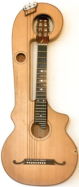 Early Musical Instruments part of the Bruderlin Collection, antique Harp Guitar by Mozzani