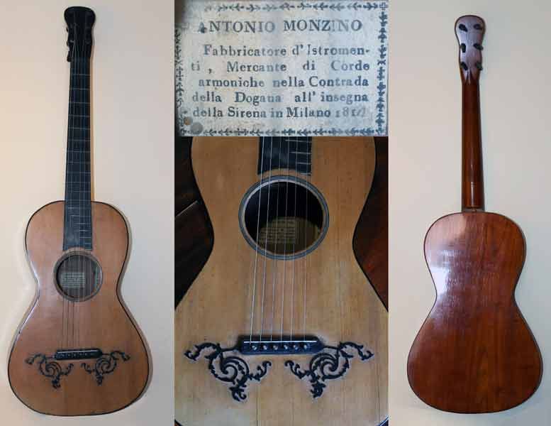 Early Musical Instruments part of the Bruderlin Collection, antique Romantic Guitar by Antonio Monzino dated 1810