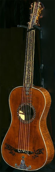 Early Musical Instruments part of the Bruderlin Collection, antique Romantic Guitar by Gio Battista Fabricatore dated 1797